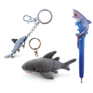 Shark Planet Pen, Plush Keychain, and Sparkling Charm (Set of 3)