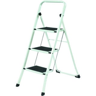 YBM Home Lightweight White Folding 3-Step Ladder