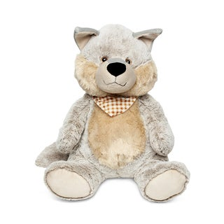 Puzzled Grey Super-soft XL Plush Sitting Wolf