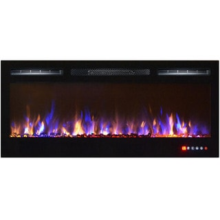 Gibson Living Bombay Multicolor Crystal 36-inch Recessed Touch-screen Wall-mounted Electric Fireplace