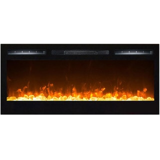 Gibson Living Madison Crystal Black Metal 36-inch Recessed Home Indoor Wall-mounted Electric Fireplace