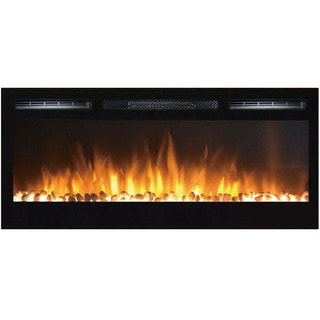 Gibson Living Madison 36-inch Black Metal Pebbles Recessed Home Indoor Wall Mounted Electric Fireplace
