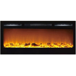 Gibson Living Madison Black Metal 36-inch Decorative Log Recessed Wall-mounted Electric Fireplace