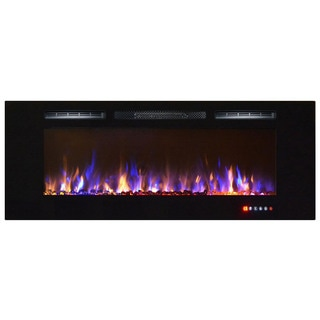 Gibson Living Bombay Black Metal 60-inch Recessed Wall-mounted Electric Fireplace
