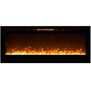 Gibson Living Alpine 60 Inch Crystal Built-In Recessed Indoor Wall Mounted Electric Fireplace