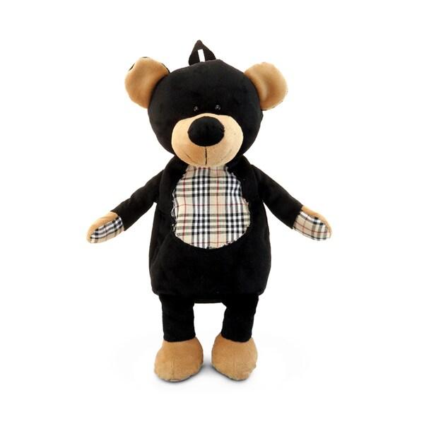 Puzzled Black Plush Bear Backpack