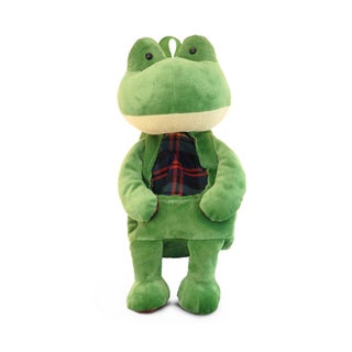Puzzled Stylish Green Plush Backpack Frog