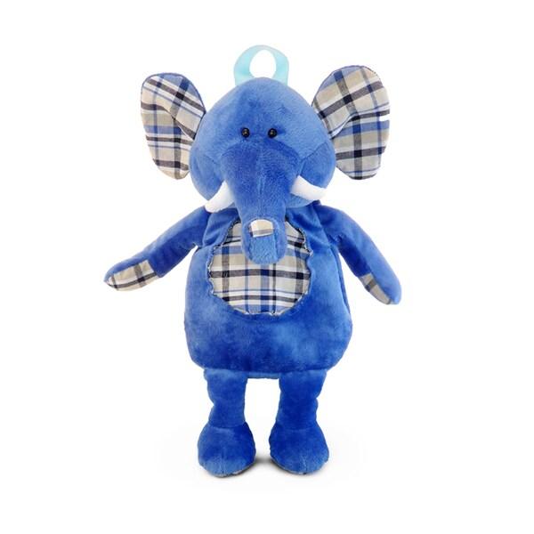 Puzzled Blue Plush Backpack Elephant