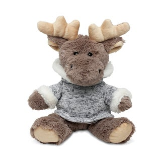 Puzzled Inc. Super-soft Plush Sitting Moose with Grey Hooded Sweater