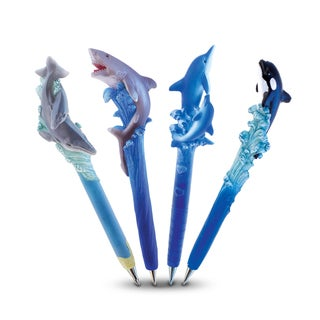 Puzzled Resin Planet Pen Collection With Killer Whale, Dolphin With Baby, Shark, and Whale With Baby