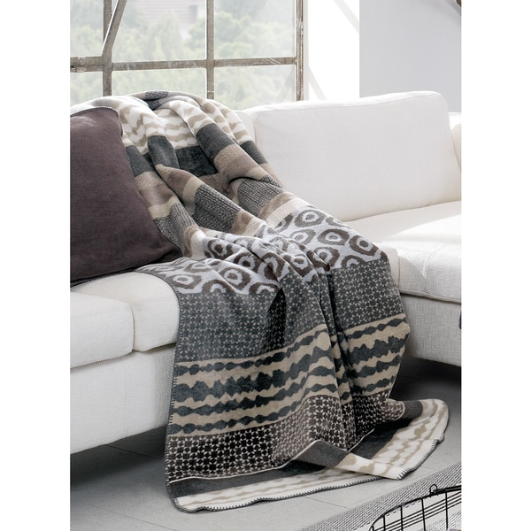 IBENA Kara Multicolored Cotton Blend Mix Pattern Oversized Throw