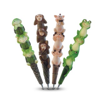 Puzzled Resin Planet Pen Collection With Three Wise Frogs, Three Wise Monkeys, Three Wise Pigs, and Three Wise Turtles