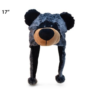 Puzzled Inc Black Super Soft Plush Bear Hat