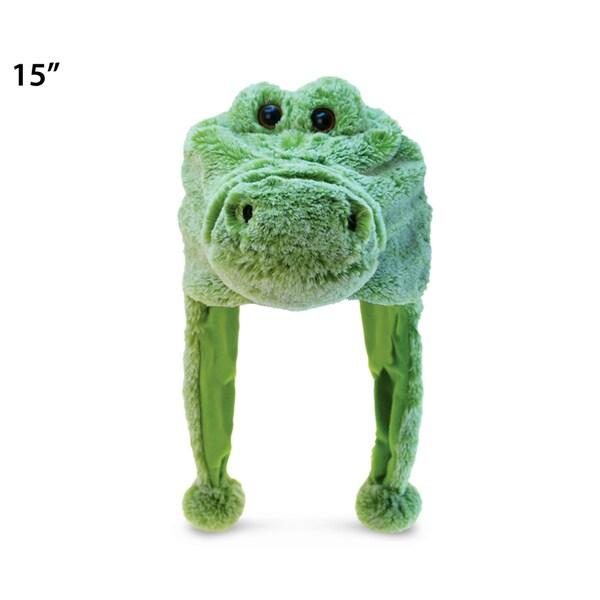 Puzzled Green Super-soft Plush Alligator Hat