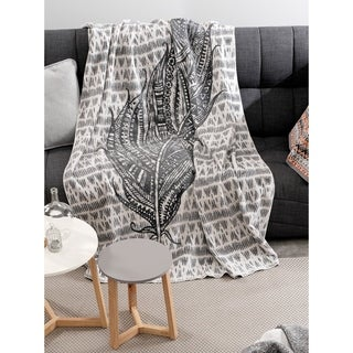 IBENA Heinola Feather Grey/Ivory Cotton Blend Reversible Oversized Throw
