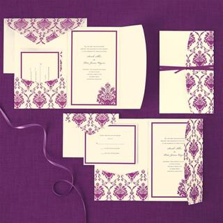Brides Purple/Ivory Elegant Pocket Invitation Kit (Pack of 30)
