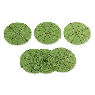 Set of 6 Beaded 'Shimmering Kiwi' Coasters (Indonesia)