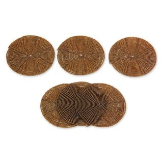 Set of 6 Beaded 'Shimmering Gold' Coasters (Indonesia)