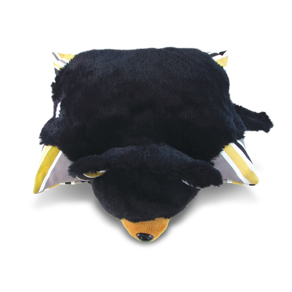 Puzzled Plush Black Bear Pillow