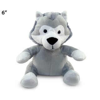 Puzzled 6-inch Grey Plush Wolf Toy