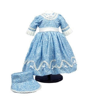 The Queen's Treasures 1800s White and Blue Sunday Dress and Bonnet for 18-inch Doll