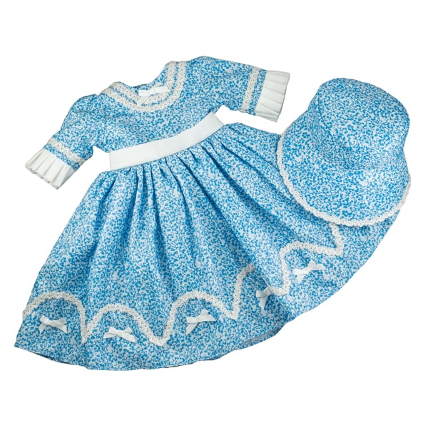 The Queen's Treasures 1800's Blue Sunday Dress & Bonnet 18 Inch Doll Clothes & Accessories