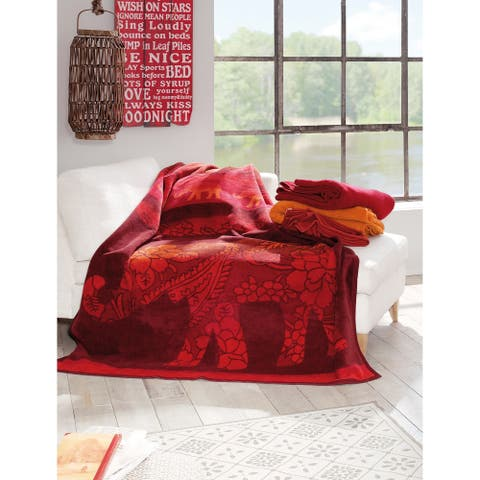 IBENA Intricate Elephant Oversized Jacquard Throw Blanket Delhi