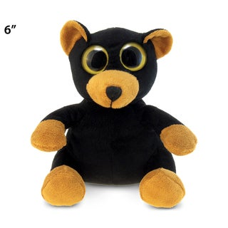 Puzzled Inc Black and Orange 6-inch Plush Big Eye Bear