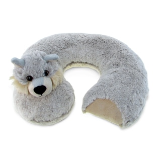 Puzzled Grey Plush Wolf Neck Pillow