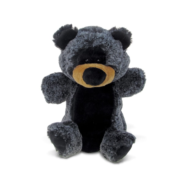 Puzzled Super Soft Plush Black Bear Hand Puppet