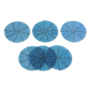 Set of 6 Handcrafted Beaded 'Shimmering Blue' Coasters (Indonesia)
