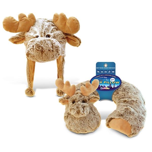 Puzzled Moose Collection Super Soft 2-piece Plush Hat and Neck Pillow Set