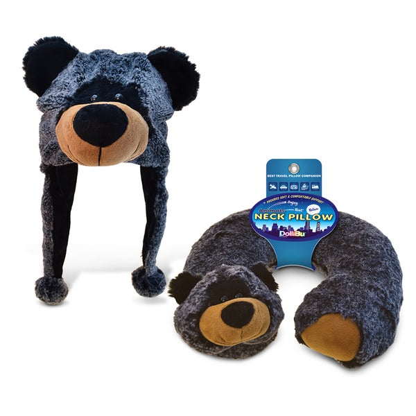 Puzzled Black Bear Plush Hat and Neck Pillow (Set of 2)
