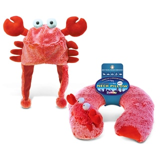 Puzzled Red Crab Collection Super Soft Plush Hat and Neck Pillows (Set of 2)