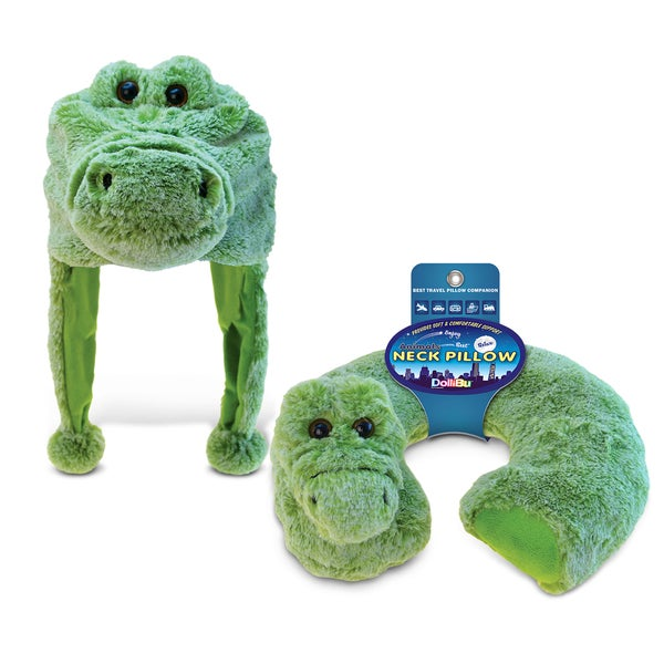 Puzzled Alligator Collection Green Plush Hat and Neck Pillow (Set of 2)