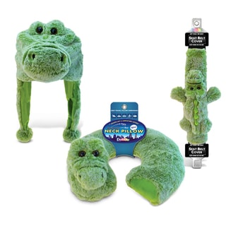 Puzzled Alligator Collection Super Soft Plush Neck Pillow, Hat, and Safety Belt Set of 3