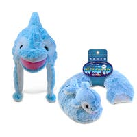 Puzzled Inc Dolphin Collection Blue Super Soft Plush Hat and Neck Pillow (Set of 2)