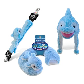 Puzzled Inc Dolphin Collection Super Soft Blue Plush Neck Pillow, Hat and Safety Belt (Set of 3)