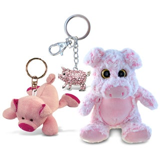 Puzzled Super Soft Plush Pig, Plush Keychain, and Sparkling Charm (Pack of 3)