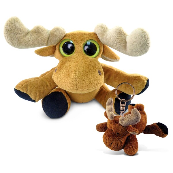 Puzzled Moose 6-inch Big Eye Plush And Keychain