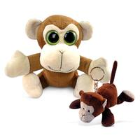 Puzzled Big Eye 6-Inch Plush Monkey and Keychain