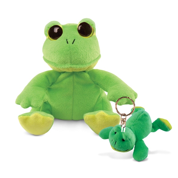 Puzzled 6-inch Big-eye Plush Frog and Keychain