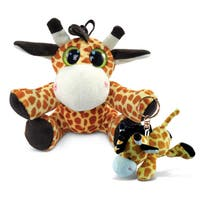 Puzzled 6-inch Big Eye Plush Giraffe and Keychain