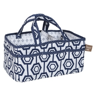 Trend Lab White and Blue Cotton Hexagon-print Storage Caddy