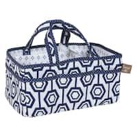 Trend Lab White and Blue Cotton Hexagon-print Storage Caddy