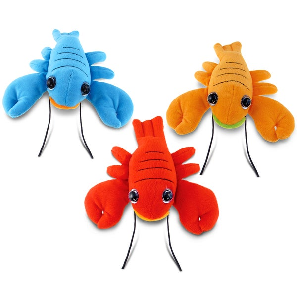 Puzzled Orange, Red, and Blue 6-inch Big Eye Lobster Plush Toy (Set of 3)