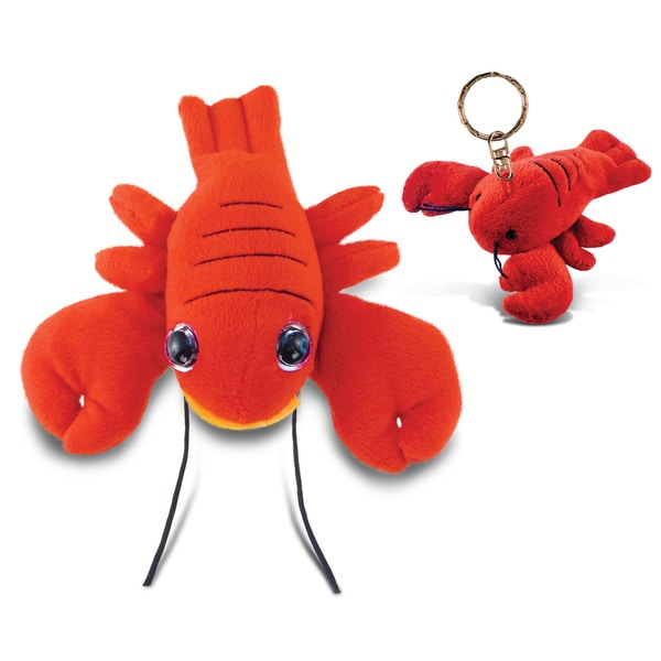 Puzzled 6-inch Big Eye Plush Lobster and Keychain