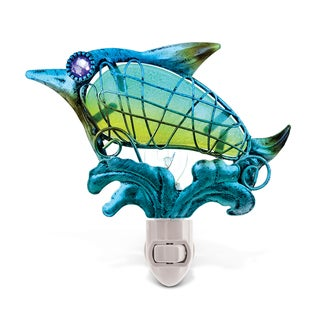 Puzzled Multicolor Metal/Glass Dolphin Night Light