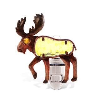 Puzzled Multicolor Metal/Glass Moose Night Light
