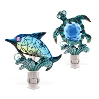 Puzzled Sea Turtle and Dolphin Night-lights (Set of 2)